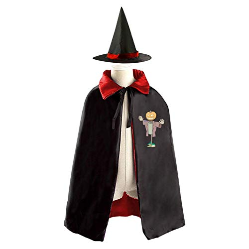 69PF-1 Halloween Cape Matching Witch Hat Pumpkin Scarecrow Wizard Cloak Masquerade Cosplay Custume Robe Kids/Boy/Girl Gift Red -