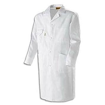 Bata blanca 100% algodón, cierre con botones 4 bolsillos para hombre talla 1: Amazon.es: Oficina y papelería