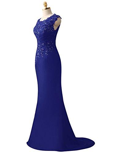 HUINI Applique Largo Formal Vestidos de noche Paseo Sat¨ªn Fiesta Azul Vestidos Pliegues real Lentejuelas r5znxr