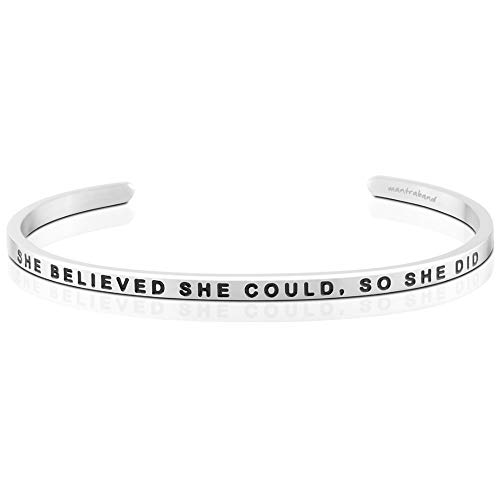 MantraBand Bracelet - She Believed She Could, So She Did - Inspirational Engraved Adjustable Mantra Cuff - Silver - Perfect Little Gift (Silver)
