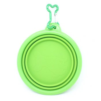 """Fold-N-Go"" Silicone Collapsible Pet Food/Water Dish Dog Travel Bowl with Bone Clip, My Pet Supplies"