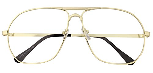 Oversized Sunglasses Pilot Top Aviator Retro Driving Designer Glasses Eyewear (Gold, - Sunglasses Oversized Designer Mens
