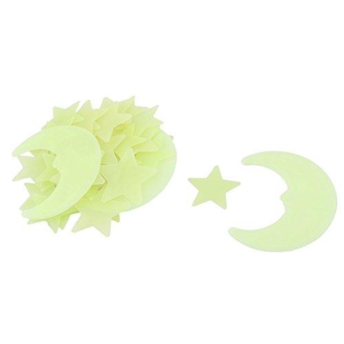 uxcell PVC Household Moon Star Shaped Wall Door Glass Sticker Decal 36pcs Green - In Glasses Sunlight That Darken
