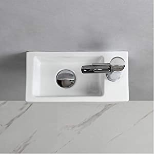 Wall Hung Basin Sink Small Cloakroom Basin Rectangle Ceramic Wash Basin (Right Hand)