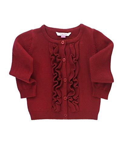 (RuffleButts Baby/Toddler Girls Cranberry Ruffled Cardigan - 12-18m)