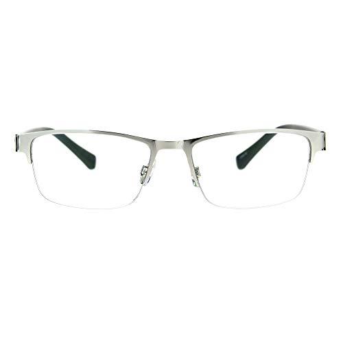 Mens Half Metal Rim Rectangular Multi 3 Power Focus Progressive Reading Glasses Silver ()