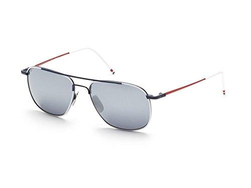 2b0b9a89521 THOM BROWNE TB 103 B-WHT-NVY-RED White-Navy-Red w  Dark Grey-Silver  Sunglasses
