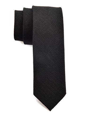 (Men Skinny Black Silk Wool Ties Cotton Timeless Matte Texture Neckties for Groom)