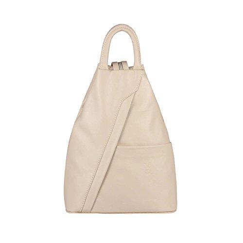 Obc Made In Italy - Sac à dos à bandoulière en cuir véritable pour femme - avec pompon - Fer, Environ 25x30x11 cm (Bxhxt) - Rose pastell