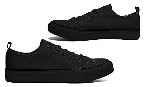 (Women's Low Top Classic Canvas Fashion Sneaker Basketball Tennis Athletic Shoes Cap Toe 2.0 (9, Black))