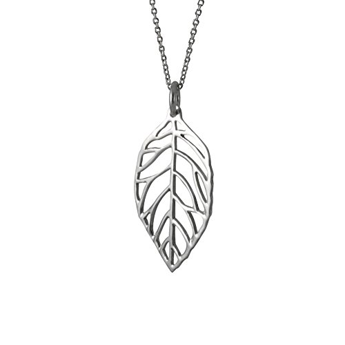 (apop nyc Sterling Silver Open Leaf Pendant Necklace 20 inch)