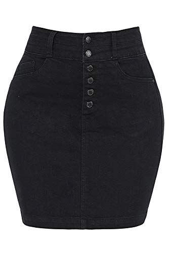 - RK RUBY KARAT Womens Casual High Waist Exposed Button Fly Denim Jean Pencil Skirt, Black, Medium