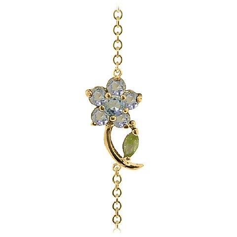 QP bijoutier naturel péridot & Bracelet en or 9 carats avec aigue-marine, 0.87ct - 5041Y