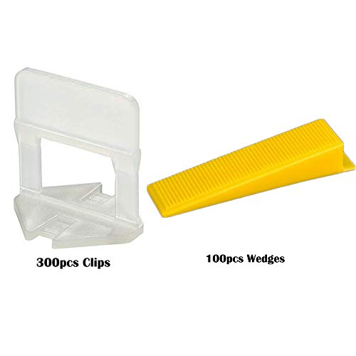 "Tile Leveling System DIY Tiles Leveler Spacers, 1/8""(3MM) 300pcs Leveling Spacer Clips Plus 100pcs Reusable Wedges"