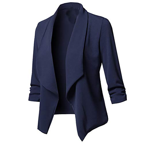 Ximandi Womens Solid Open Front Cardigan Long Sleeve Blazer Casual Jacket Coat Navy