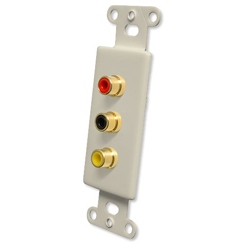 Pro Wire OEM Systems Jack Plate (Solderless 3 RCA), Almond (IWM-3RG-a)