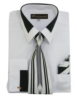 Milano Moda High Fashion Dress Shirt with Contrast Design Tie, Hankie & Cuffs White-19-19 1/2-36-37