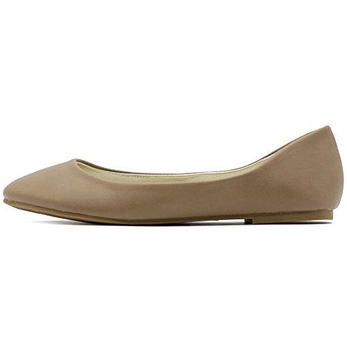 Light Basic Heel Flat Womens Ollio Ballet Comfort Taupe Shoe Low FqBwIH