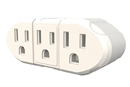 Stanley 30366 3 Way Wall Adapter, Grounded 3-Outlet Adapter, White ...