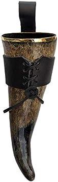 Hornerey T05Gold Borde Dorado – Original Trinkhorn Vikingo 0,5 l con cinturón de Piel, auténtica Medieval, Cuerno de Bebida, methorn, Larp, Beber