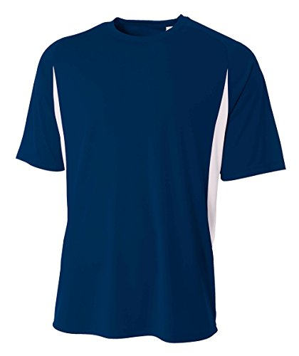 Mens Short Sleeve Practice Tee - A4 Men's Cooling Performance Color Block Short Sleeve Tee, Navy White, X-Large