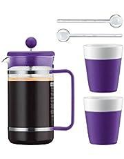 Bodum Kaffeeset Bistro - 6-teilig - 1,0l Kaffeebereiter mit 2 0,3l Porzellantassen und 2 Löffel - Farbe Lila - AK1508-XY-Y15-12