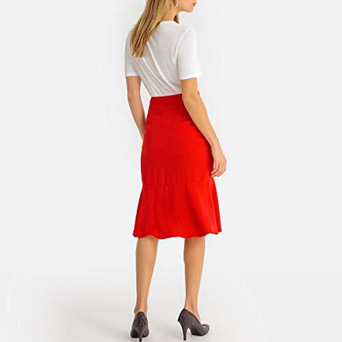 La Redoute Womens Asymmetric Pencil Skirt Red Size US 18 ()