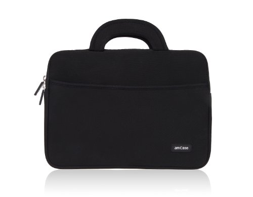 amCase Chromebook Case, 11.6 to 12 Inch Laptop Sleeve Case for Acer Chromebook 11 C720 740 / HP Stream/Samsung Chromebook 2 / Macbook/Notebook Laptop Sleeve Neoprene w/Handle (BLACK) by amCase (Image #1)
