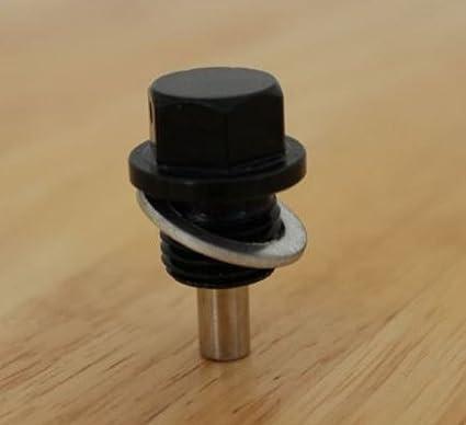 Tappo magnetico filettato per coppa dell'olio, filettatura M14 x 1,5, colore nero Kage