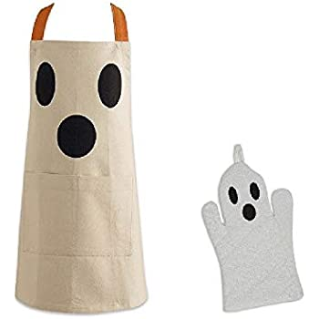 Ayuni Gifts of the World Halloween Ghost Child Size Chefs Apron Plus Matching Ghost Oven Mitt 100% Cotton
