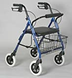 Rollator - Dark Blue Bariatric with Hand Brake # Lightweight aluminum frame # Handles are adjustable for different heights # Removable basket is mounted under the seat # Locking hand brakes # 8'' front and rear tires # Push button removable backrest # Soft