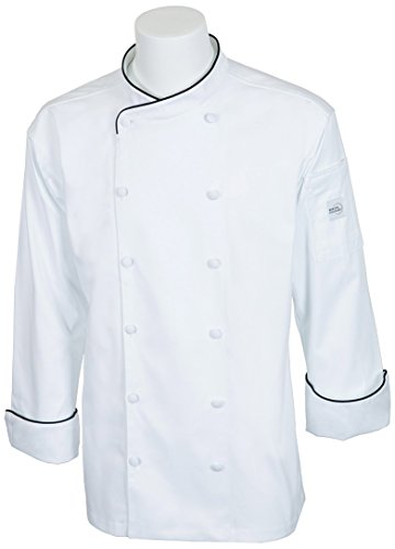 Mercer Culinary M62020WBL Renaissance Men's Scoop Neck Chef Jacket, Large, White with Black Piping by Mercer Culinary