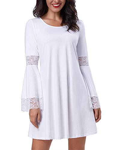 Kate Kasin Women Round Neck Long Sleeve Swing Casual Dresses Cotton White S,KK761-2