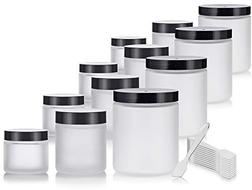 12 Piece Frosted Glass Straight Sided Jar Starter Kit Set: Includes 4-2 oz Frosted Glass Jars, 4-4 oz Frosted Glass Jars, 4-8 oz Frosted Glass Jars + Spatulas