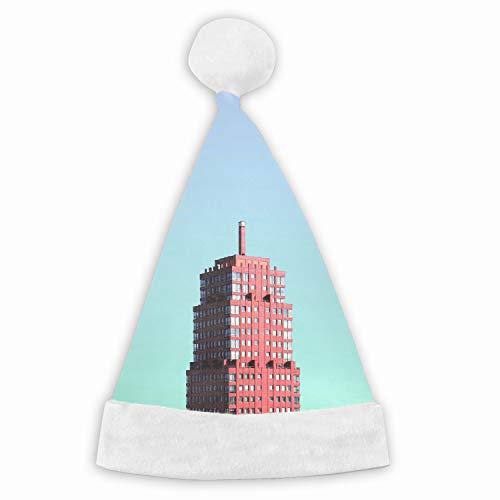 Building Minimalism Rotterdam Netherlands Naughty and Nice Plush Red Holiday Christmas Santa Hats