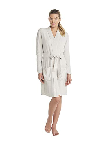 - Barefoot Dreams CozyChic Lite Ribbed Robe (Heathered Silver/Pearl, Large/X-Large)