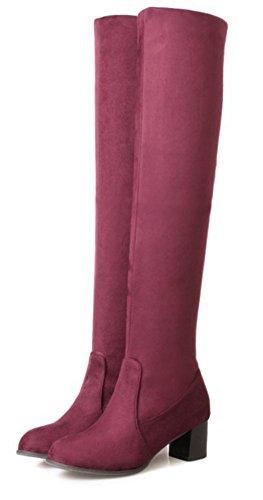 Aisun Rouge Femme On Style Mode Bottes Haute Tige Slip 714x7ZpTwq