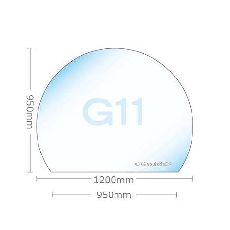 Funkenschutzplatte ESG 8mm Glasplatte Bodenplatte Kaminplatte Funkenschutz Ofenplatte Kaminglas ohne Dichtlippe G28 Rundbogen 500mm x 1000mm x 8mm