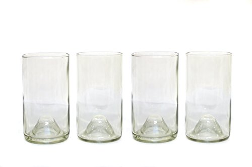 Refresh Glass Recycled Wine Bottle Glasses, 16oz set (Clear)