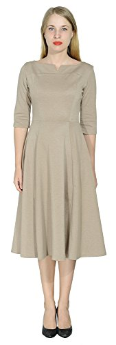- Marycrafts Women's Fit Flare Tea Midi Dress for Office Business Work 4 Cocoa