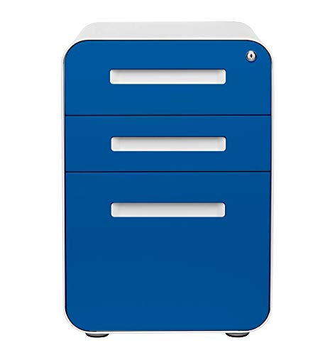 Stockpile 3-Drawer Mobile File Cabinet, Commercial-Grade, Pre-Assembled (Blue Faceplate)