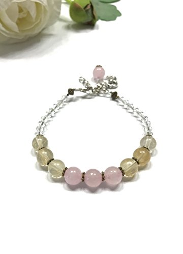 Natural Rose Quartz and Natural Citrine Bracelet. Crystal Accents and