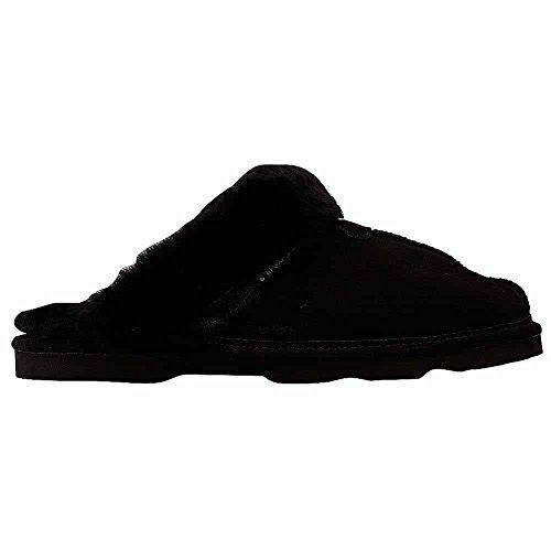 BEARPAW - Loki II - Women's Suede Leather Slippers - Sheepskin Wool - Black Size: 8