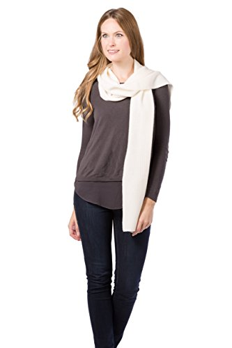 Fishers Finery Women's 100% Cashmere Ribbed Knit Scarf; Christmas Gift (Cream)
