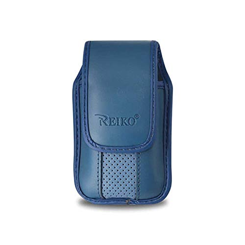 Phone Snap - Blue Leather Case with Pinch Clip for CoolPad Snap Flip Phone