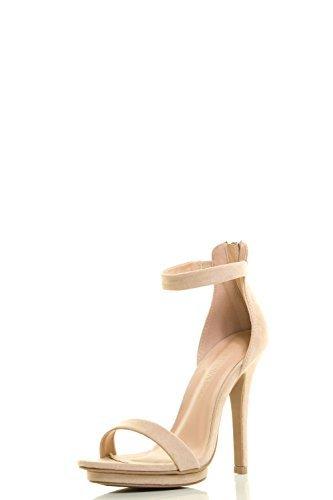 Wild Diva Womens Open Toe Ankle Strap High Stiletto Heel Platform Pump Sandal 7.5 Natural