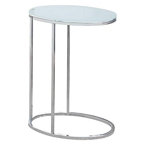 (Monarch Specialties I 3240 Oval/Chrome/Frosted Tempered Glass Accent Table, 19