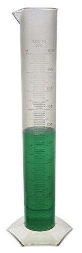 EISCO Polypropylene Autoclavable Graduated Cylinder with Hexagonal Base, 10mL Graduation, 1000mL Capacity (Pack of 3)