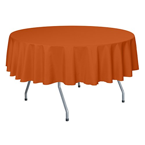 Ultimate Textile 60-Inch Round Polyester Linen Tablecloth - Round Orange