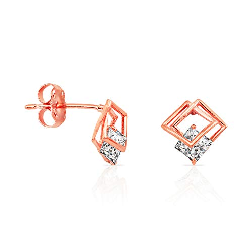 Jewels Company Unique 14k Rose Gold Offset Open Square Stud Earrings Wrapping CZ for Women